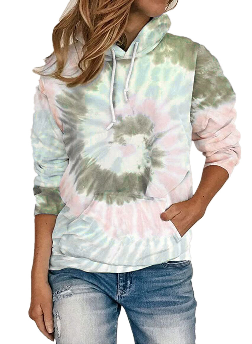 autumn and winter new women's loose tie-dye printed hooded long-sleeved sweater NSYF858