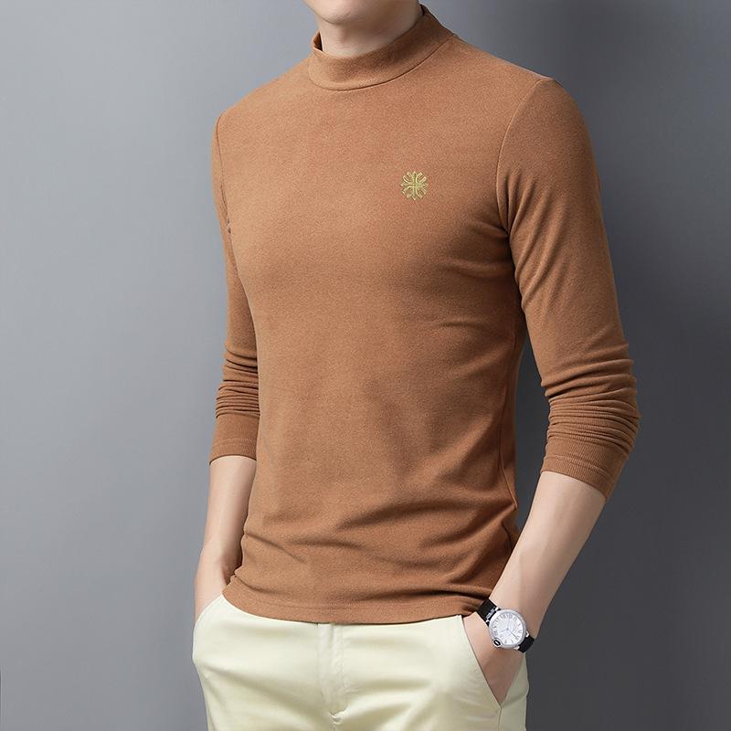 2020 جديد الصوف مزدوجة الوجه الربيع والخريف الرجال في منتصف العمر التطريز قاع قميص الربيع موضة تي شيرت بأكمام طويلة