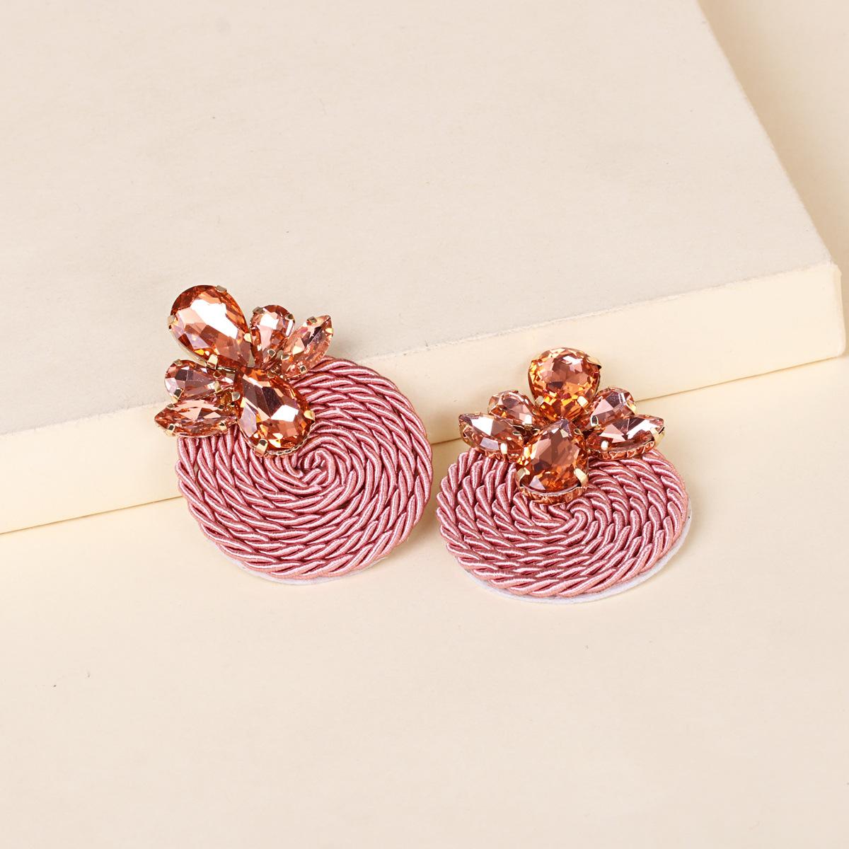 Korean new fashion wild rhinestone geometric round exaggerated card earrings  NHJJ261704