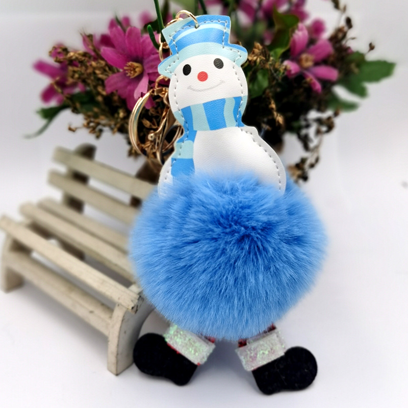 Santa Claus snowman fur ball keychain imitation rex rabbit fur ladies bag pendant car ornaments NHDI269449