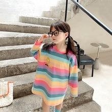 女童连衣裙秋装裙子2020新款韩版儿童春秋洋气女孩彩虹条纹公主裙