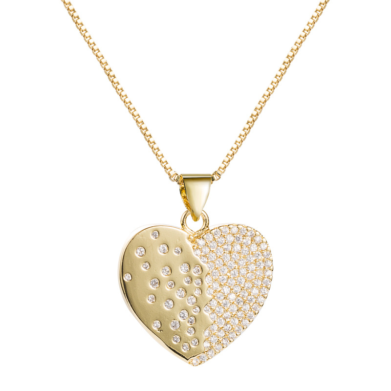 copper plated 18K gold micro-inlaid zircon heart-shaped necklace  NHLN282136
