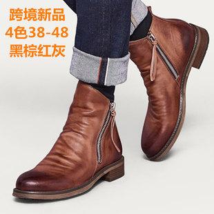 HPIOPL quality cross-border new products Double side zipper non-slip sole men's boots men's shoes Tassel boots men's leather boots large size