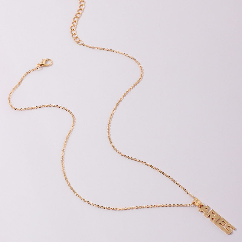 Fashion English twelve constellation necklace clavicle chain wholesale NHNZ263165