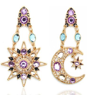 韩版太阳星星镶钻珍珠耳环耳钉  分销专卖配饰品盒 CE185-3