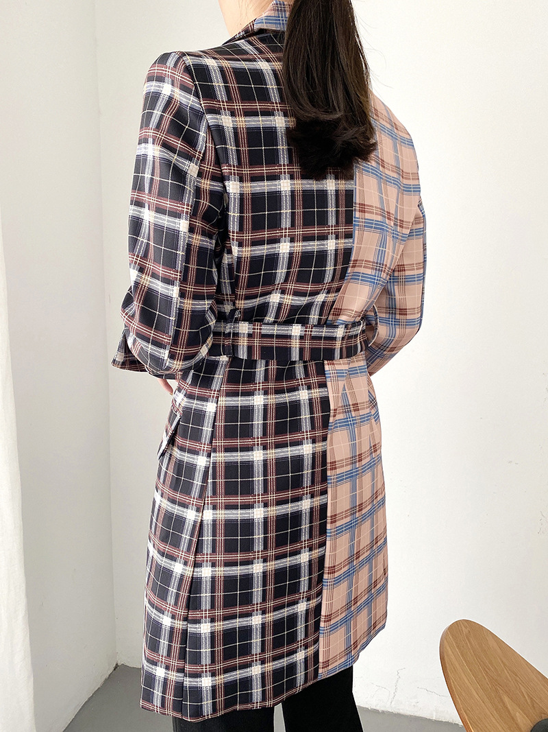 Wholesale autumn color matching belt double-breasted jacket  NSAM3061