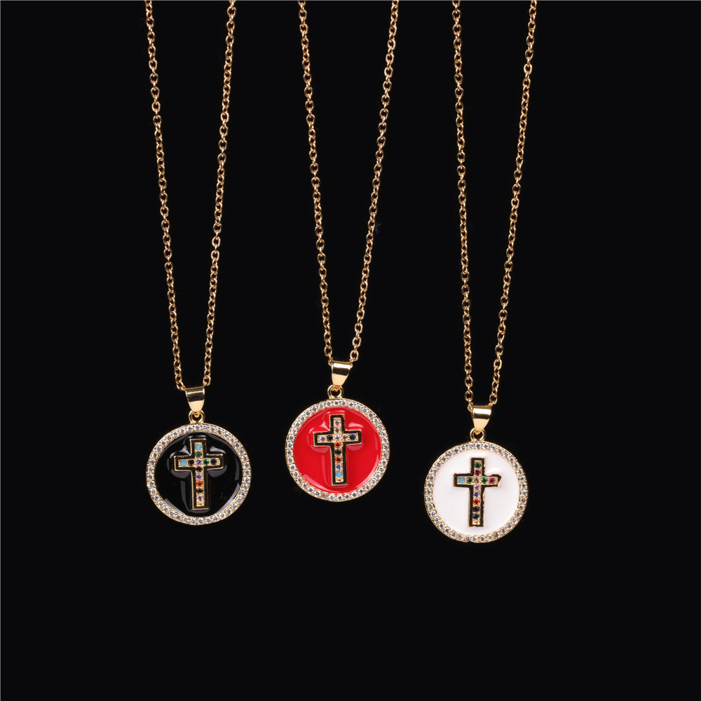 Anchor-shaped cross round oil drop pendant necklace colored zircon stainless steel necklace NHPY198223