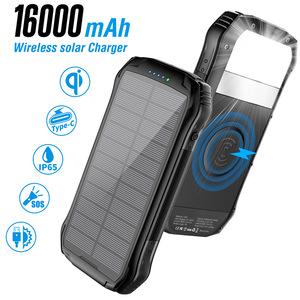外贸热销无线充充电宝16000毫安PD18W快充三防水太阳能移动电源