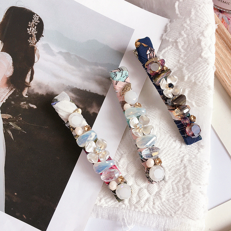 Korean new floral bead flower crystal handmade fish wire money winding wild pressure clip spring clip hair ornament headdress NHHI211374