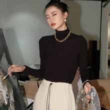 高领长袖T恤女2020秋冬新款韩版休闲套头上衣4色修身显瘦打底衫