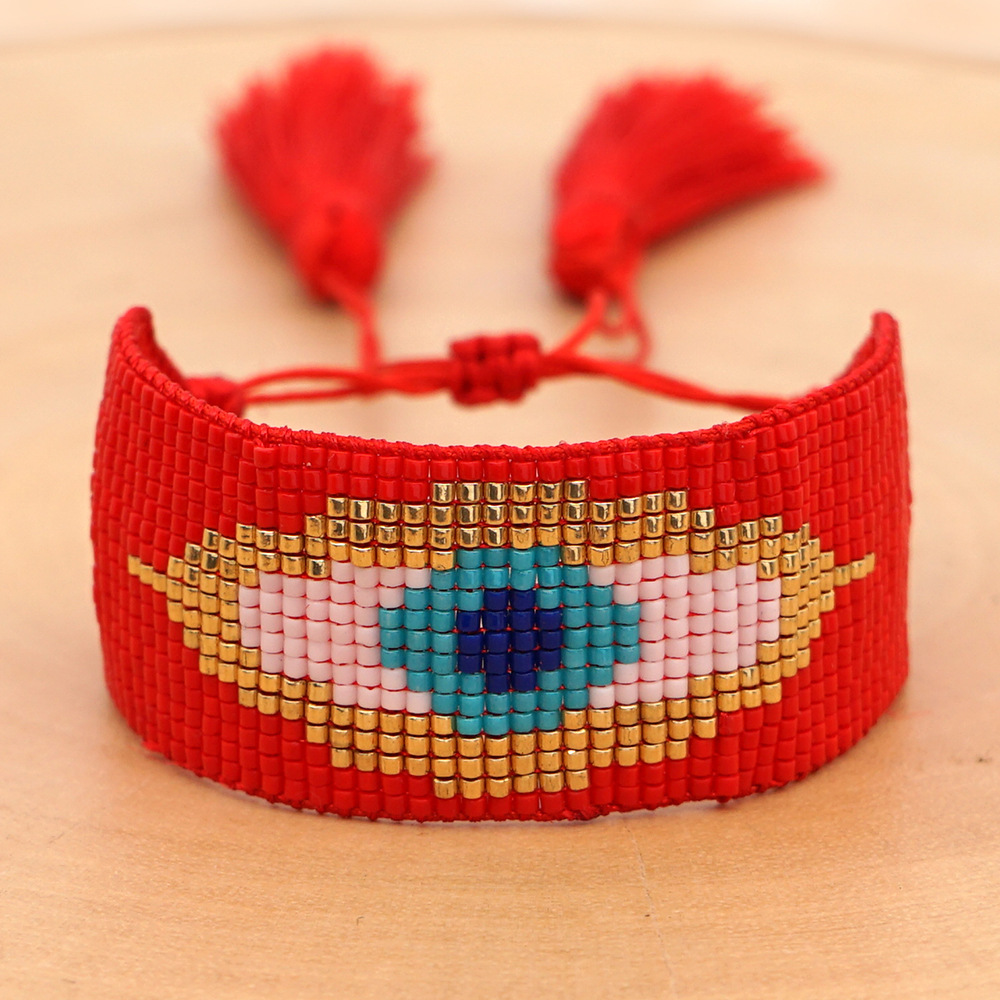Miyuki rice beads hand-woven evil eye LOVE love crystal tassel six-pointed star ethnic style bracelet set NHGW213181