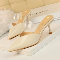 233-2 Korean simple summer sandals women's thin heel high heel patent leather shallow mouth pointed transparent one word slippers