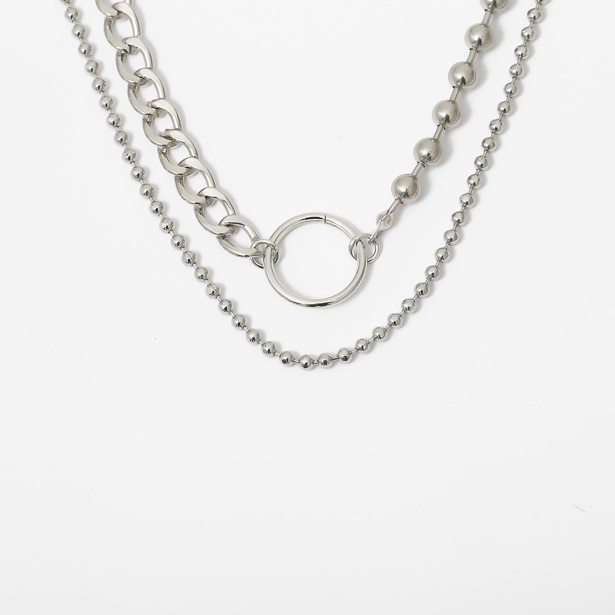 European and American Cross-border Jewelry Wild Set Beads Handmade Ornaments Personality Asymmetric Hip Hop Geometric Chain Necklace NHXR204529