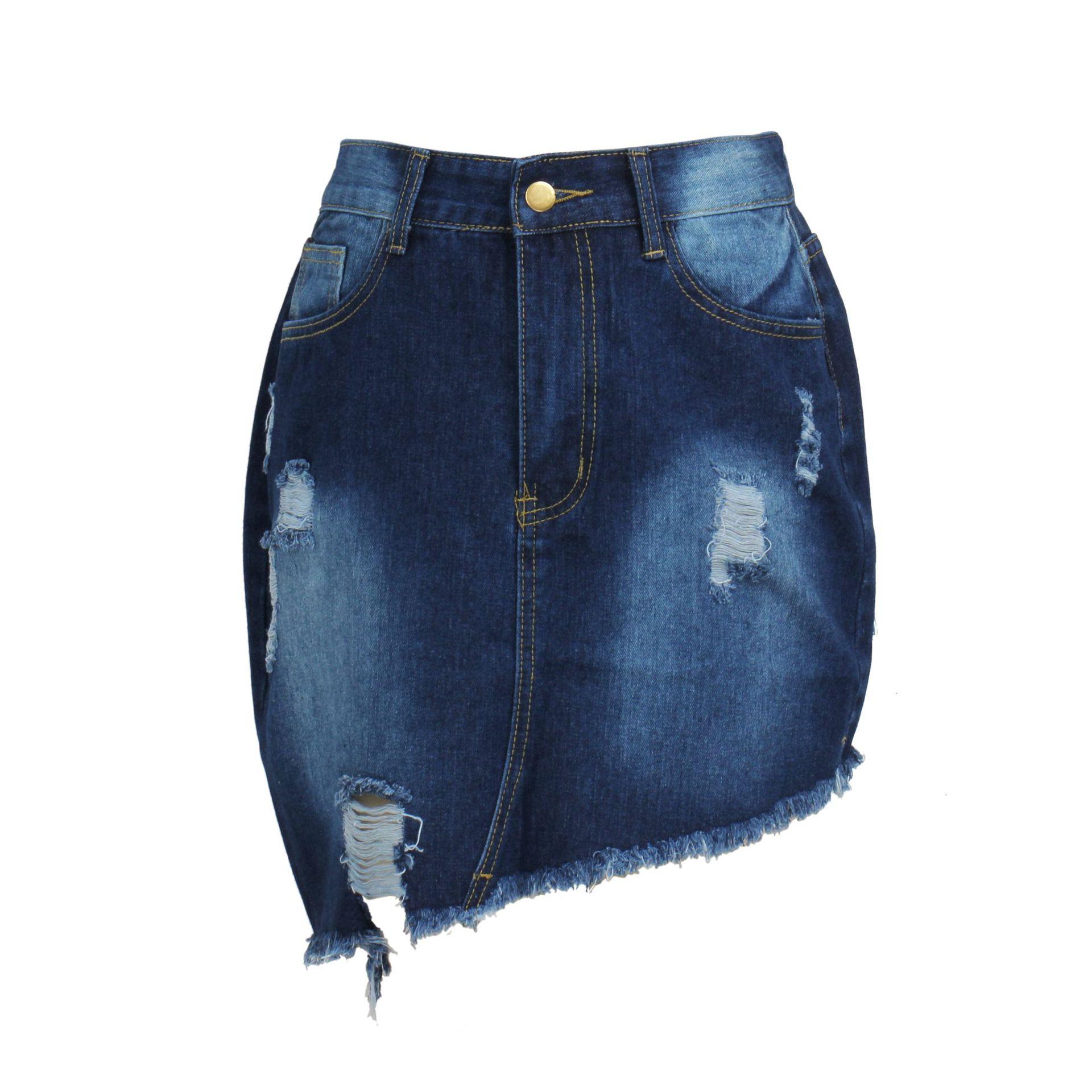 sexy wild hand-frayed raw edge high waist irregular denim skirt NSSF64723