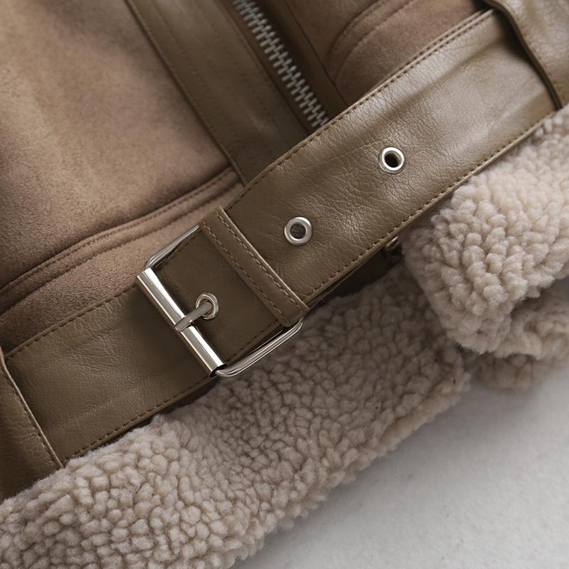 wholesale suede thickened jacket short locomotive jacket lamb hair jacket  NSAM3135