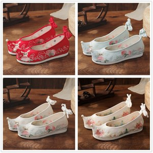 hanfu chinese dress shoes for female Bow Shoes princess fairy cosplay performance flat embroidered shoes for women