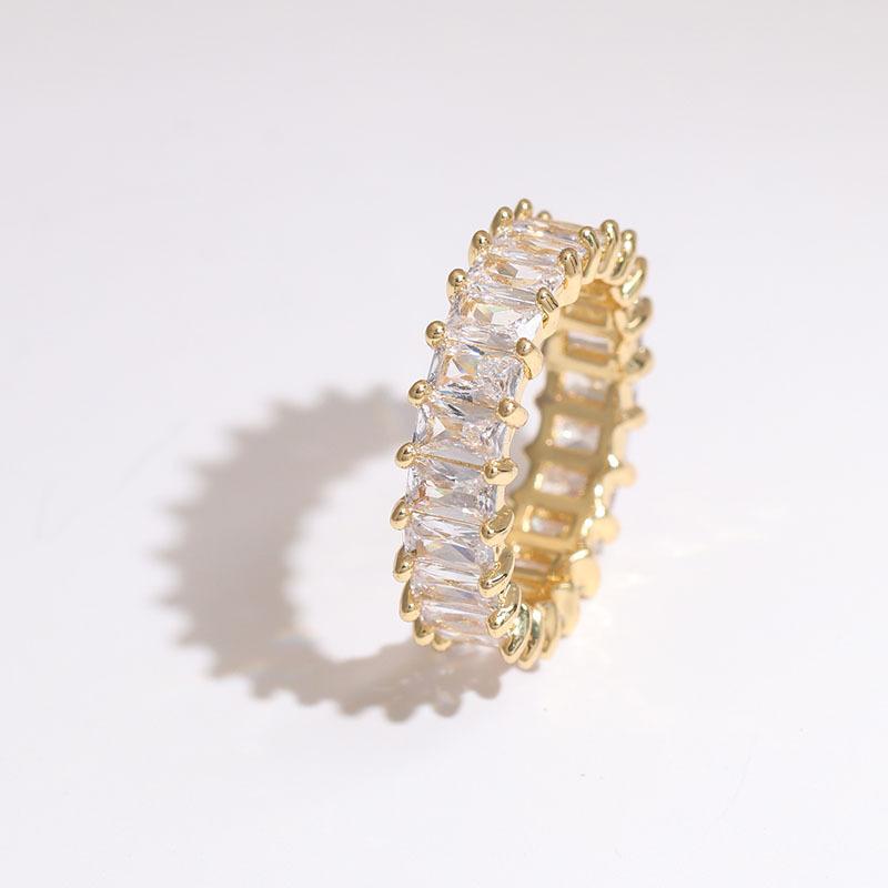 Fashion Rose Red Copper Inlaid Zircon Rectangular Ring