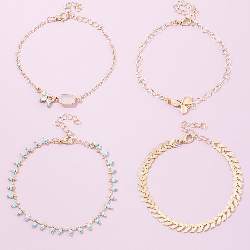 fashion jewelry new alloy leaf love rice bead bracelet set wholesale nihaojewelry NHNZ236494