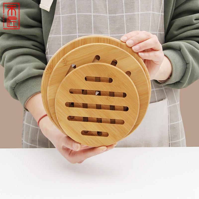 工厂家用餐桌锅垫创意酒店家用圆形杯垫餐垫加厚竹质隔热垫