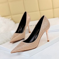 998-11 European and American fashion sexy nightclub show thin metal with high heel with shallow mouth pointed dazzling sequins single shoes