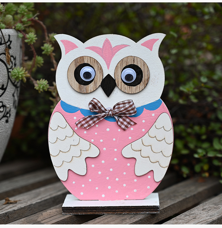 Easter wooden color owl wooden decoration  NHHB256628
