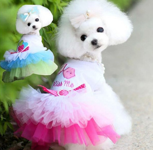 Pet dog clothes spring and summer cat clothes pet skirt clothes lips gauze skirt cotton soft mesh