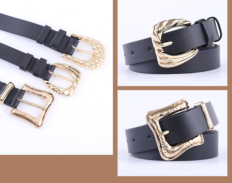 combination with black gold buckle belt ladies fashion pattern pin buckle decorative belt women wholesale nihaojewelry NHPO233498