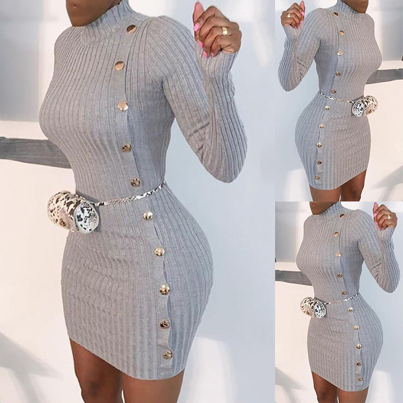 women's solid color sexy slim single-breasted long-sleeved dress  NSKX5936