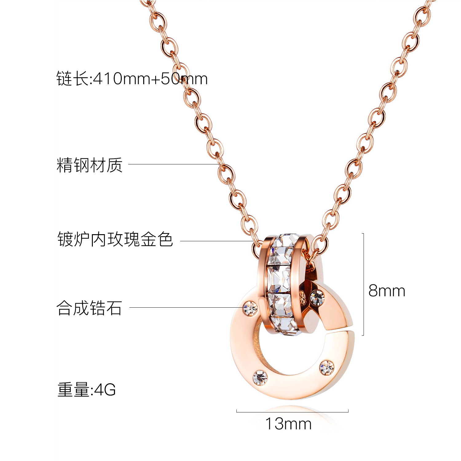 Korean temperament simple stainless steel necklace ladies wild circle ring pendant clavicle chain wholesale nihaojewelry NHOP219964