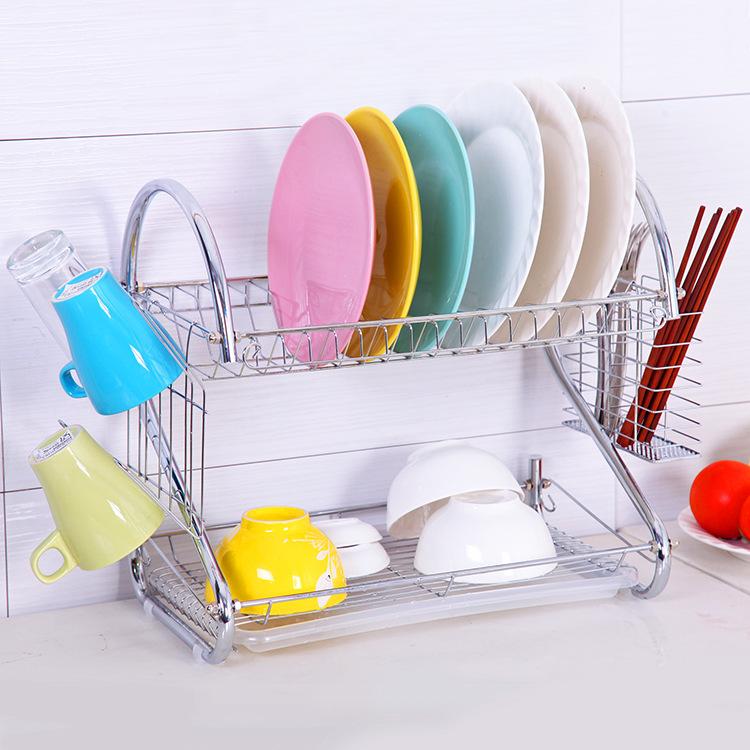 厨房双层不锈钢碗碟架沥水碗架S型杯架 厨房餐具置物收纳架批发