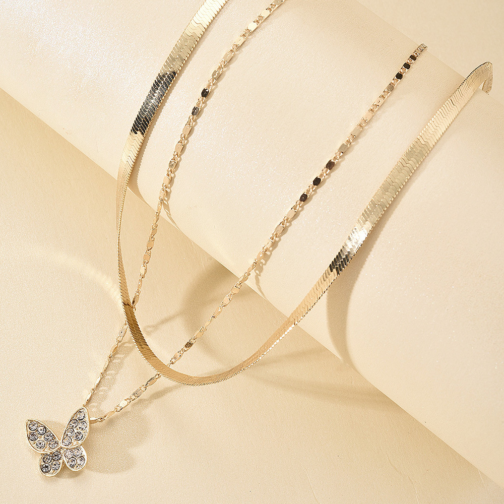 fashion double necklace creative alloy butterfly pendant wind clavicle chain  nihaojewelry wholesale NHMD215240