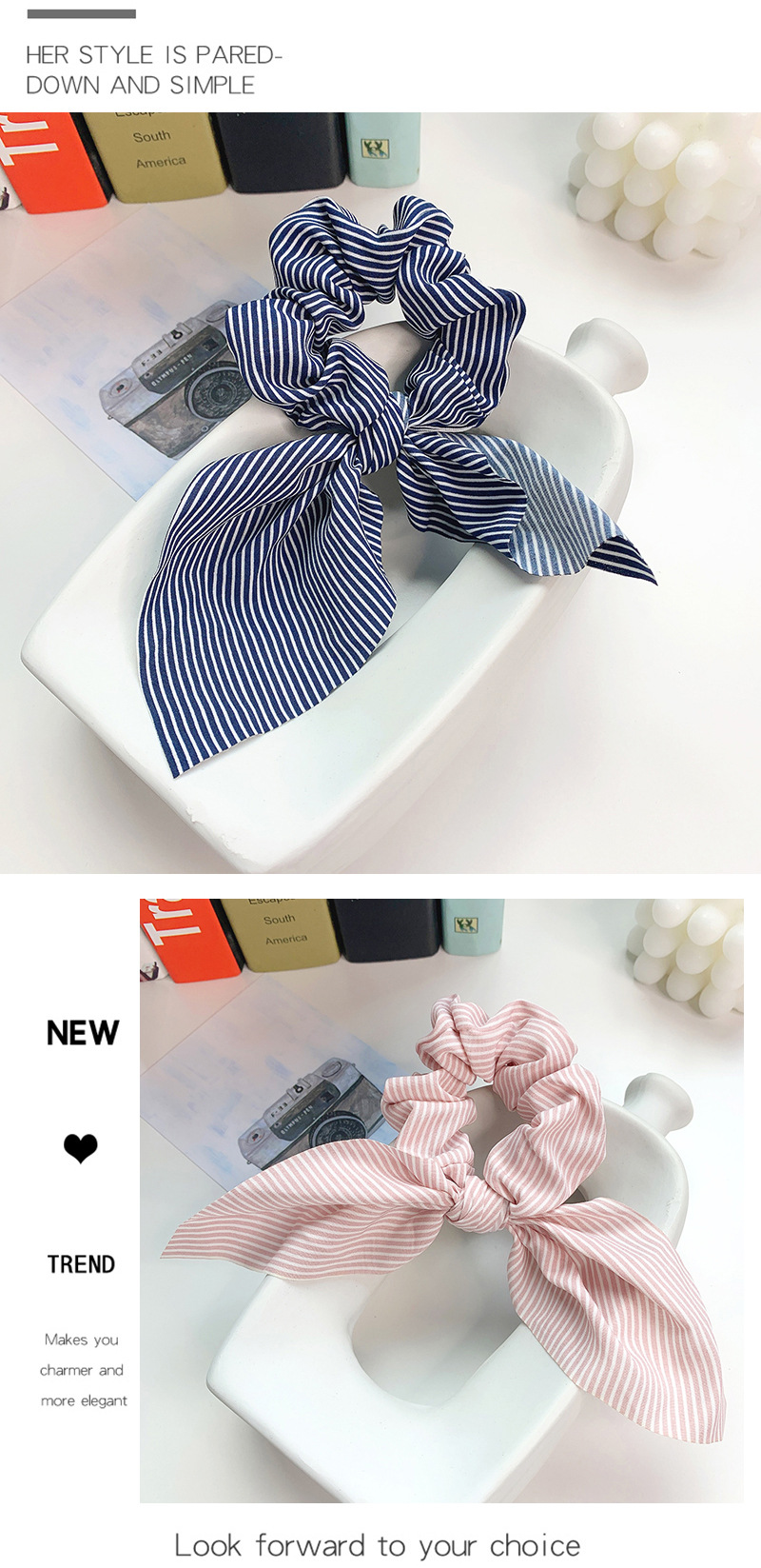 Fabric big bow stripe hair band tie release ring chiffon head rope wholesale NHOF204476