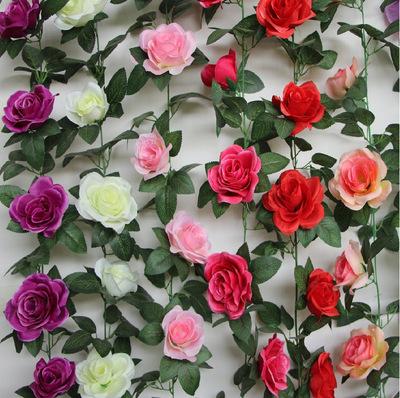 货源仿真花16头仿真花藤条塑料花影楼拍摄道具婚庆布置装饰玫瑰花藤批发