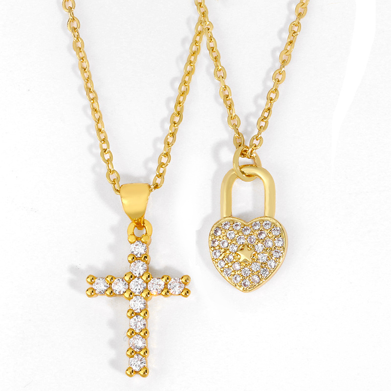 explosion models jewelry diamond cross necklace love lock pendant necklace choker jewelry wholesale nihaojewelry NHAS223272