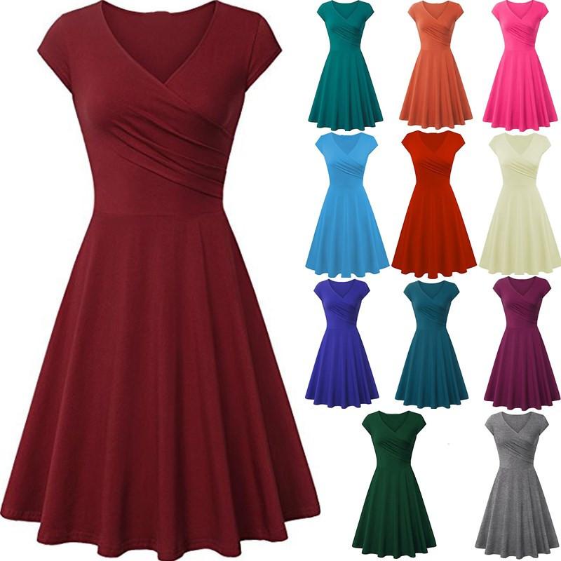 2021外贸新款女装亚马逊eBay欧美秋季短袖纯色修身大摆连衣裙