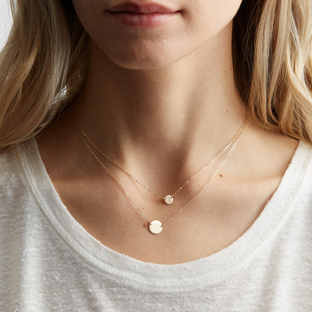 ornaments geometric round brand necklace L316 stainless steel two-piece necklace clavicle chain wholesale nihaojewelry NHJJ221054