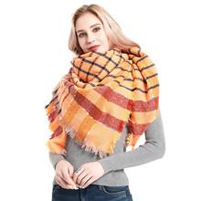 亚马逊热款2020秋冬季新款女士披肩橘黄色涤纶刺毛大方巾格子围巾