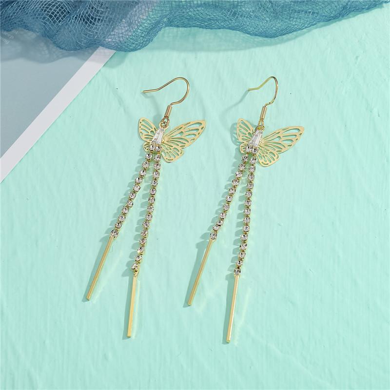 Fashion Butterfly Ear Hook Diamond Butterfly Tassel Long Earrings