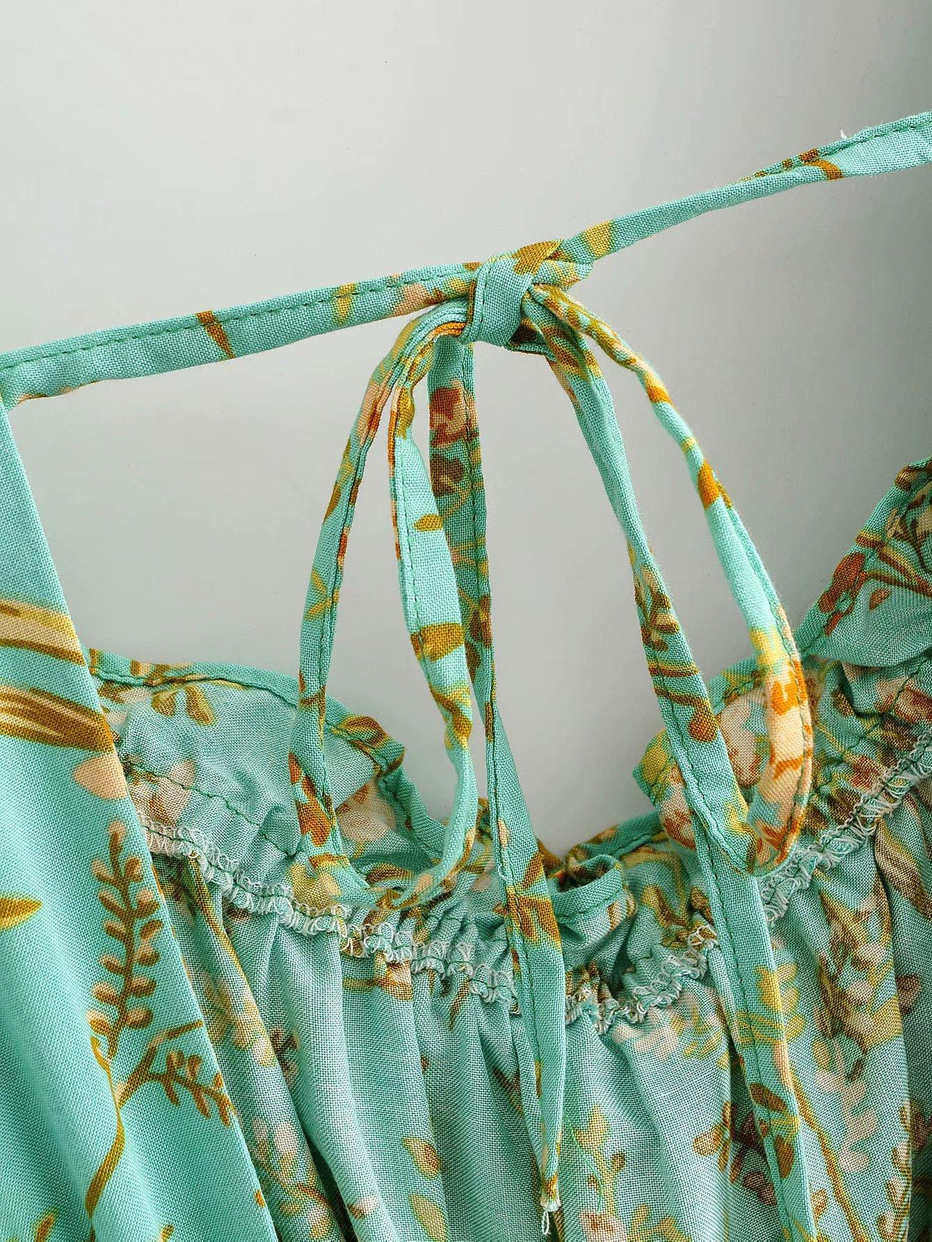 fashion new summer  long  printing square collar laceup waist ruffle shortsleeved  green dress  nihaojewelry wholesale NHAM215653