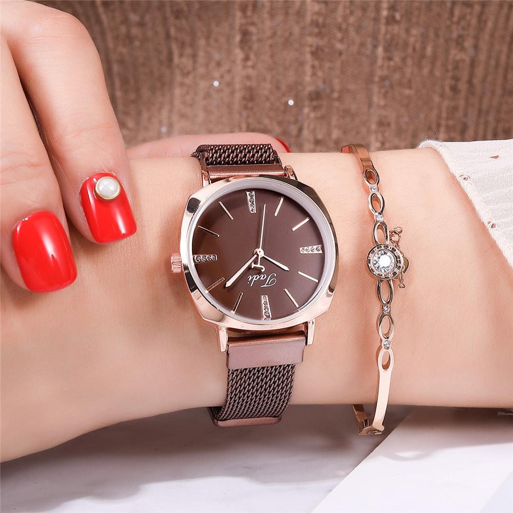 Fashion ladies quartz magnet watch diamond alloy milan band ladies bracelet watch NHSY193617