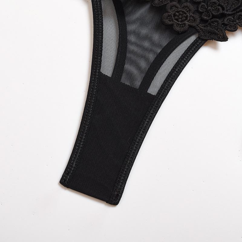 Leaf lace garter lingerie three-piece set NSWY49960