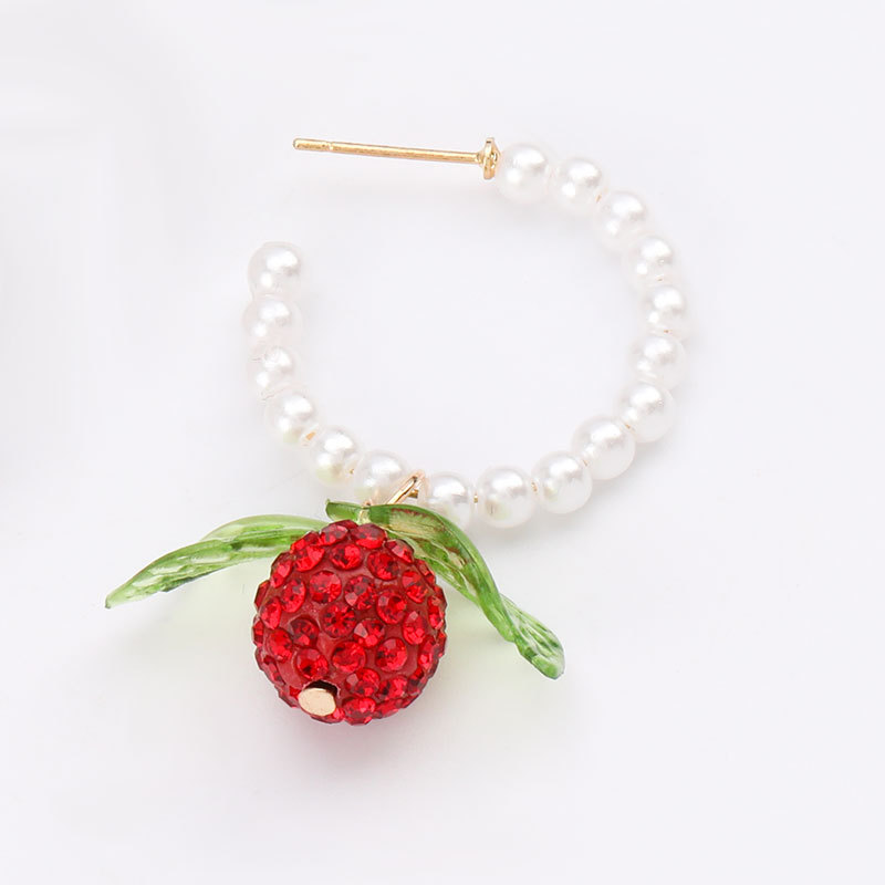 Fashion diamonds bayberry pineapple C-shaped pearl earrings summer fruit wind earrings wholesale nihaojewelry NHJE218091