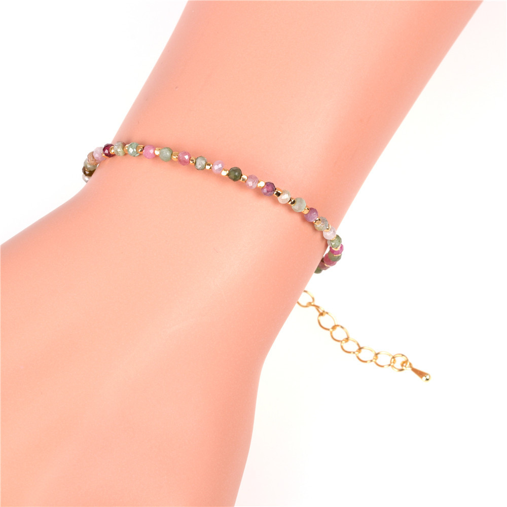 Copper-plated real gold bracelet flat Seiko faceted natural stone mixed color beaded bracelet NHPY202857