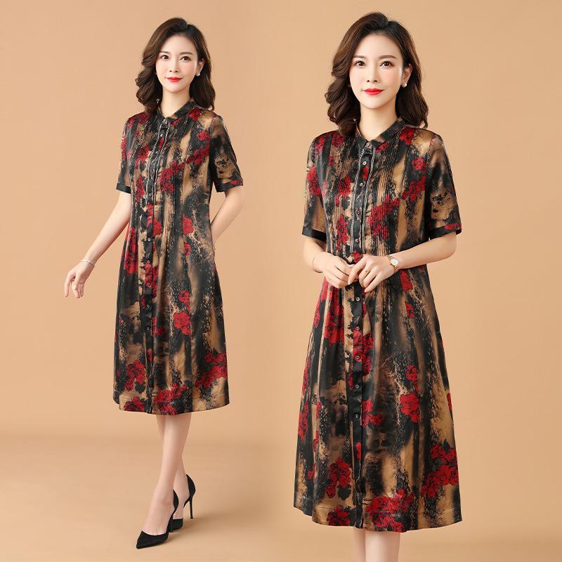 中老年女装连衣裙 时尚妈妈装加大码宽松高端裙子 印花真丝连衣裙