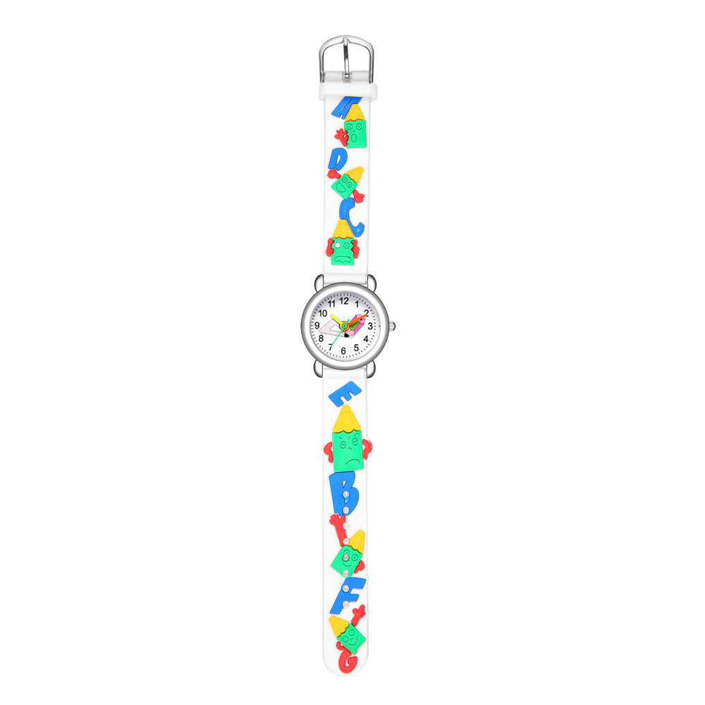 Cute colored pointer pencil pattern plastic band quartz watch embossed pencil children's watch wholesale NHSS200493