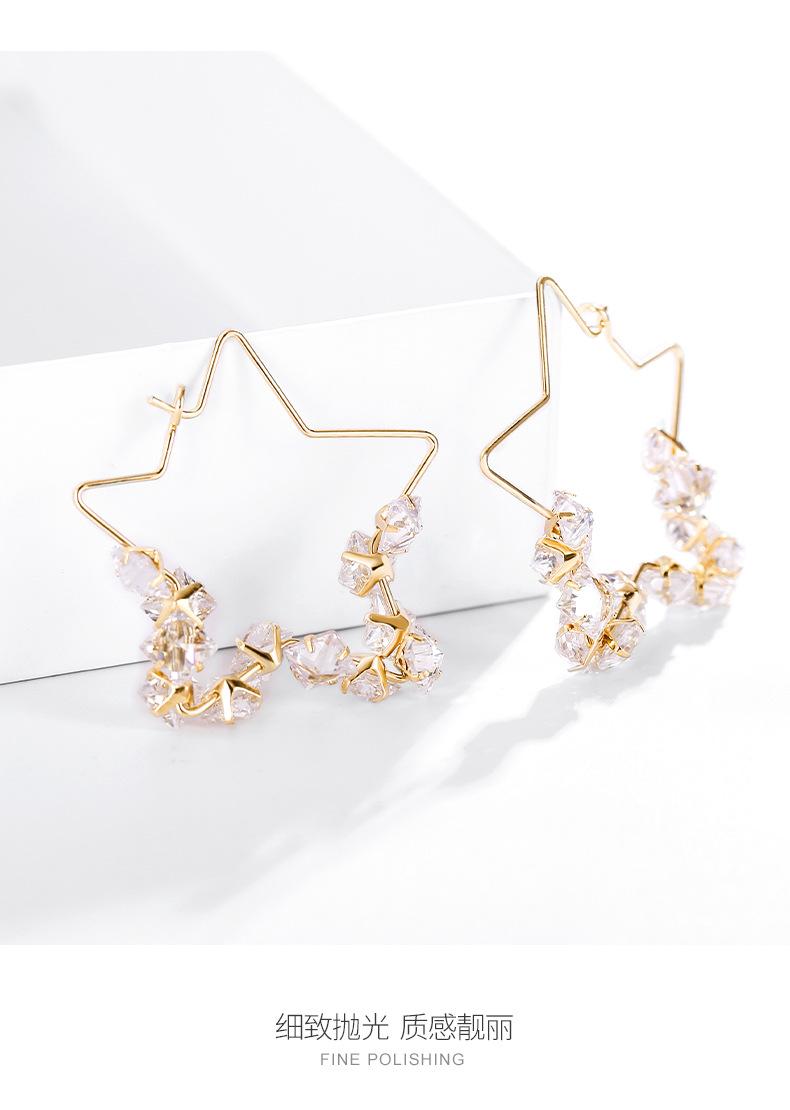 Hong Kong style exaggerated temperament large circle fashion wild earrings pentagram design sense trend simple geometric earrings wholesale nihaojewelry NHPP221235