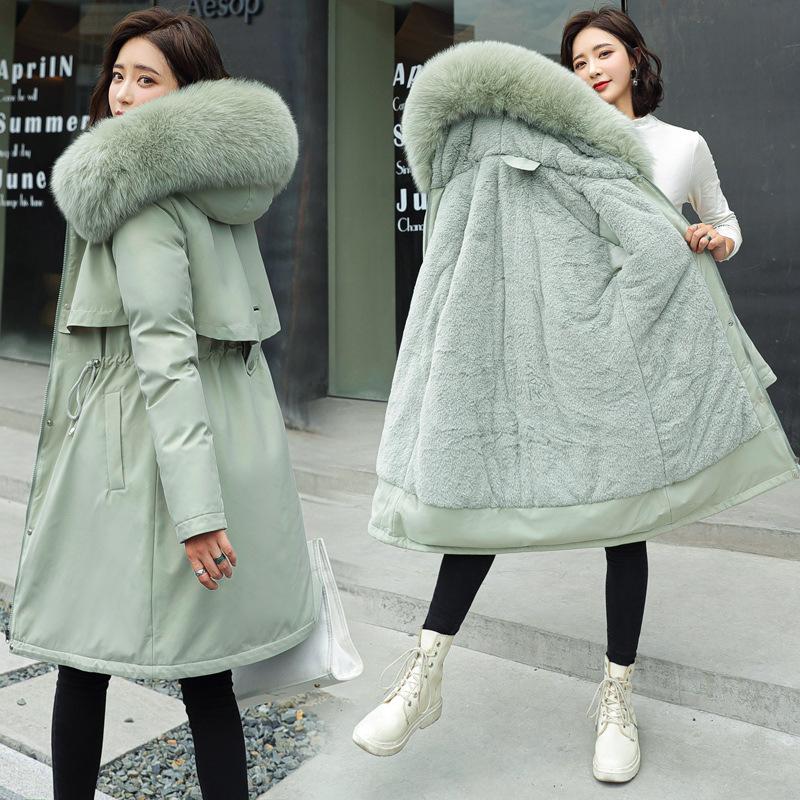 2020冬季欧美新款女式棉衣中长款大毛领加绒棉袄羽绒棉服棉袄外套