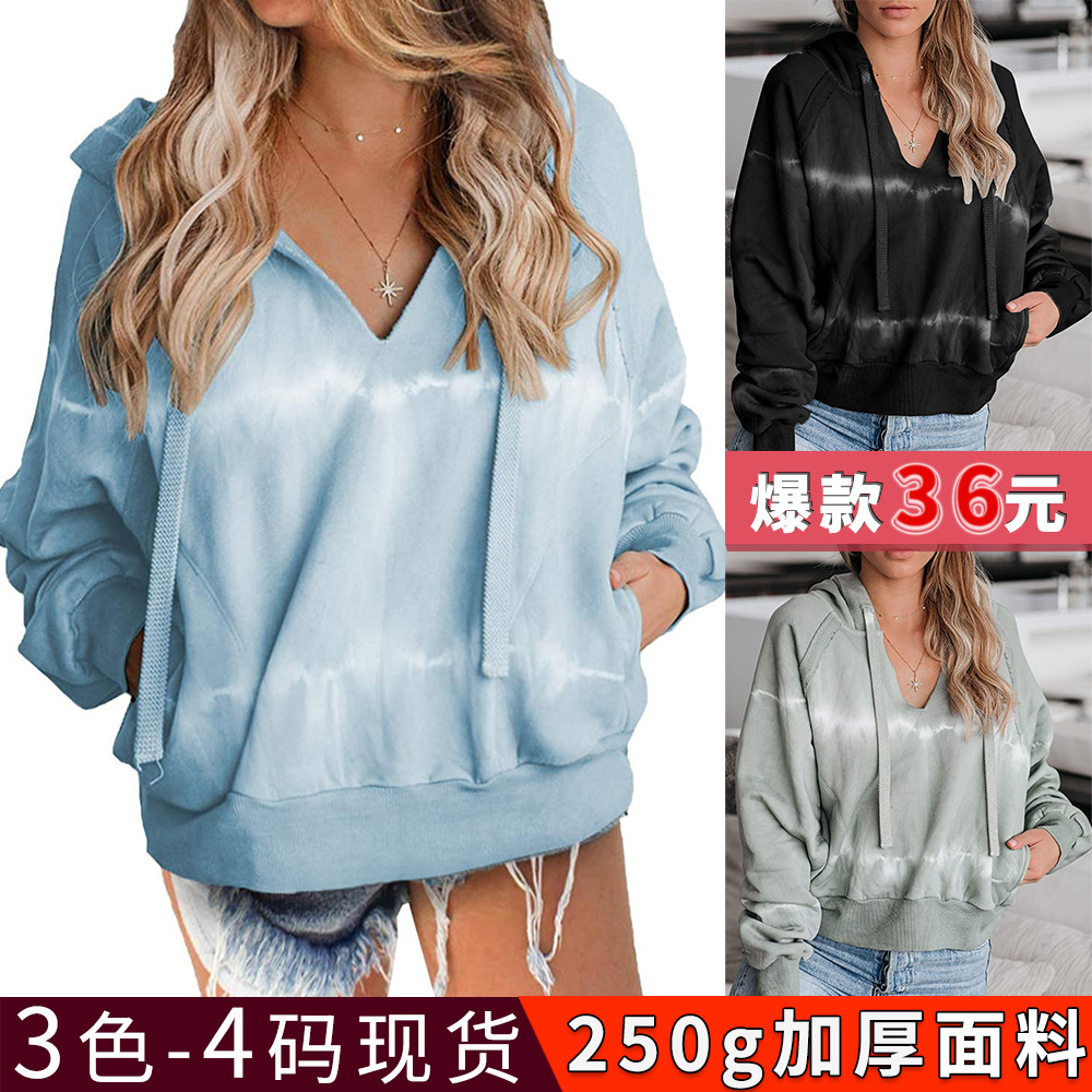Autumn And Winter European And American Casual Hooded Sweater Tie-Dye Loose Long-Sleeved Top Women