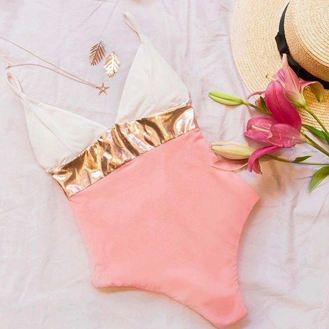 Nuevo traje de baño de una pieza bikini dorado sexy caliente NHNM198037