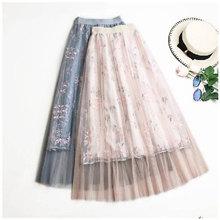 网纱半身裙女春季刺绣高腰韩版学生A字裙中长款仙女裙子
